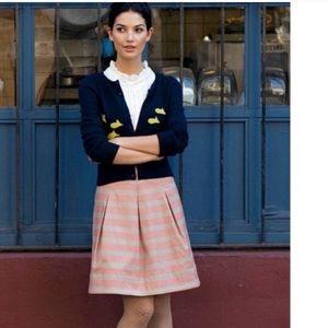 Anthropology pink grey stripe skirt